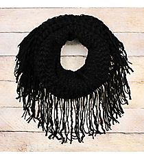 Black Pepper Fringed Tube Scarf #EANT8511-BK