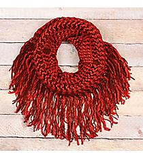 Pumpkin Spice Fringed Tube Scarf #EANT8511-OR