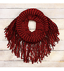 Chili Pepper Fringed Tube Scarf #EANT8511-RD