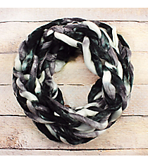 Black and White Chunky Chain Knit Infinity Scarf #EANT8512-BKWT