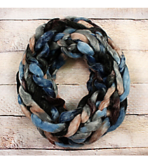 Shades of Blue and Brown Chunky Chain Knit Infinity Scarf #EANT8512-BLBR