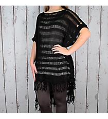 Black Stripe Knit Poncho with Fringe #EAPC8249-BK