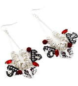 Houndstooth Elephant Charm Drop Earrings #AE0567-ASR