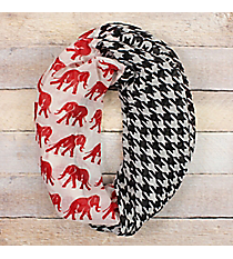 Houndstooth and Red Elephant Infinity Scarf #EASC8437-RDBK