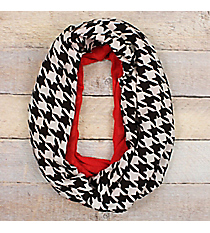 Houndstooth and Red Infinity Scarf #EASC8438-BKRD