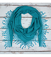 Teal Lace Trim Triangle Scarf #EASC7065-TL