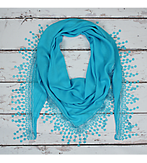 Turquoise Lace Trim Triangle Scarf #EASC7065-TQ