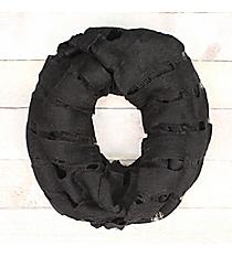 Black Open Weave Knit Infinity Scarf #EASC7396-BK