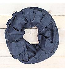 Blue Open Weave Knit Infinity Scarf #EASC7396-BL