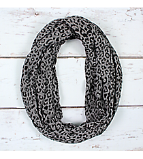 Black and Grey Leopard Print Infinity Scarf #EASC7515-BK