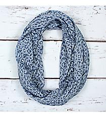 Blue Leopard Print Infinity Scarf #EASC7515-BL