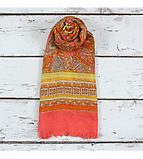 Pink Paisley Scarf with Frayed Edges #EASC8022-PK