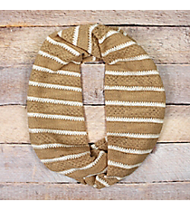 Beige and White Lace Stripe Infinity Scarf #EASC8071-BE