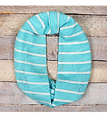 Light Turquoise and White Lace Stripe Infinity Scarf #EASC8071-TQ