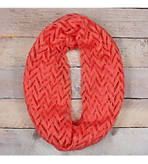 Coral Lace Chevron Infinity Scarf #EASC8074-CO