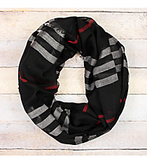 Black Multi-Stripe Infinity Scarf with Frayed Edges #EASC8082-BK