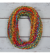 Bright Multi-Color Open Weave Net Infinity Scarf #EASC8086-RDMT