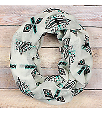 Turquoise and Black Aztec Ivory Infinity Scarf #EASC8111-TQ