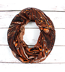 Peacock Feathers Brown Infinity Scarf #EASC8160-BR