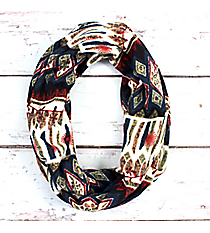 Teal, Red, and Green Aztec Infinity Scarf #EASC8174-TL