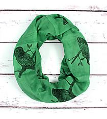 Green Owl Print Infinity Scarf #EASC8179-GN