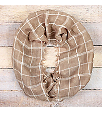 Taupe Check Plaid Infinity Scarf with Frayed Edges #EASC8259-TP