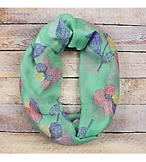 Mint with Multi-Color Flowers Infinity Scarf #EASC8264-MT