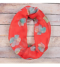 Red with Multi-Color Flowers Infinity Scarf #EASC8264-RD