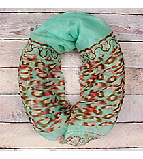 Mint Floral Leopard Infinity Scarf #EASC8265-MT