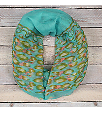 Turquoise Floral Leopard Infinity Scarf #EASC8265-TQ