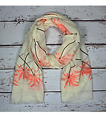Coral Palm Tree Long Scarf #EASC8288-CO