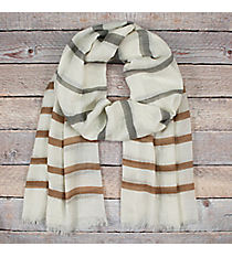 Beige and Grey Striped Ivory Long Scarf #EASC8290-BE
