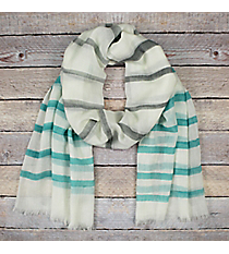 Mint and Grey Striped Ivory Long Scarf #EASC8290-MT