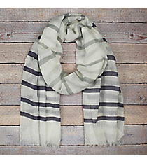 Navy and Grey Striped Ivory Long Scarf #EASC8290-NV
