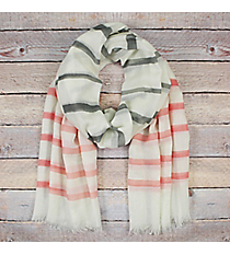 Pink and Grey Striped Ivory Long Scarf #EASC8290-PK