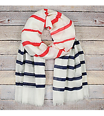 Red and Navy Striped Ivory Long Scarf #EASC8290-RDNV