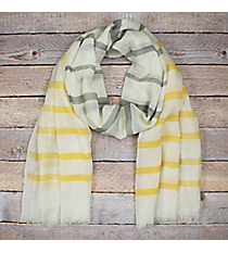 Yellow and Grey Striped Ivory Long Scarf #EASC8290-YE