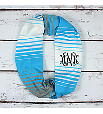 Blue, White, and Grey Striped Jersey Infinity Scarf #EASC8298-BL