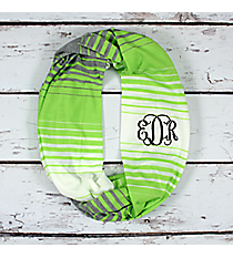 Green, White, and Grey Striped Jersey Infinity Scarf #EASC8298-GN