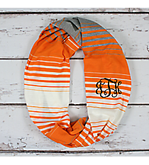 Orange, White, and Grey Striped Jersey Infinity Scarf #EASC8298-OR