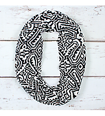 Black and White Tribal Print Infinity Scarf #EASC8299-BKibal Infinity Scarf #EASC8299-BK