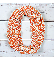 Coral and White Tribal Print Infinity Scarf #EASC8299-CO