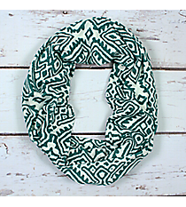 Mint and White Tribal Print Infinity Scarf #EASC8299-MT