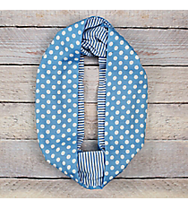 Blue Polka Dots and Stripes Infinity Scarf #EASC8302-BL