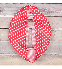 Pink Polka Dots and Stripes Infinity Scarf #EASC8302-PK