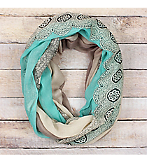 Mint Ombre Lace Print Infinity Scarf #EASC8311-MT