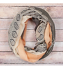Peach Ombre Lace Print Infinity Scarf #EASC8311-PC