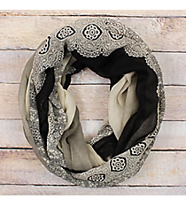 Black Ombre Lace Print Infinity Scarf #EASC8311-TP