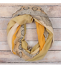 Yellow Ombre Lace Print Infinity Scarf #EASC8311-YE
