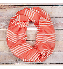 Coral and White Striped Infinity Scarf #EASC8318-CO